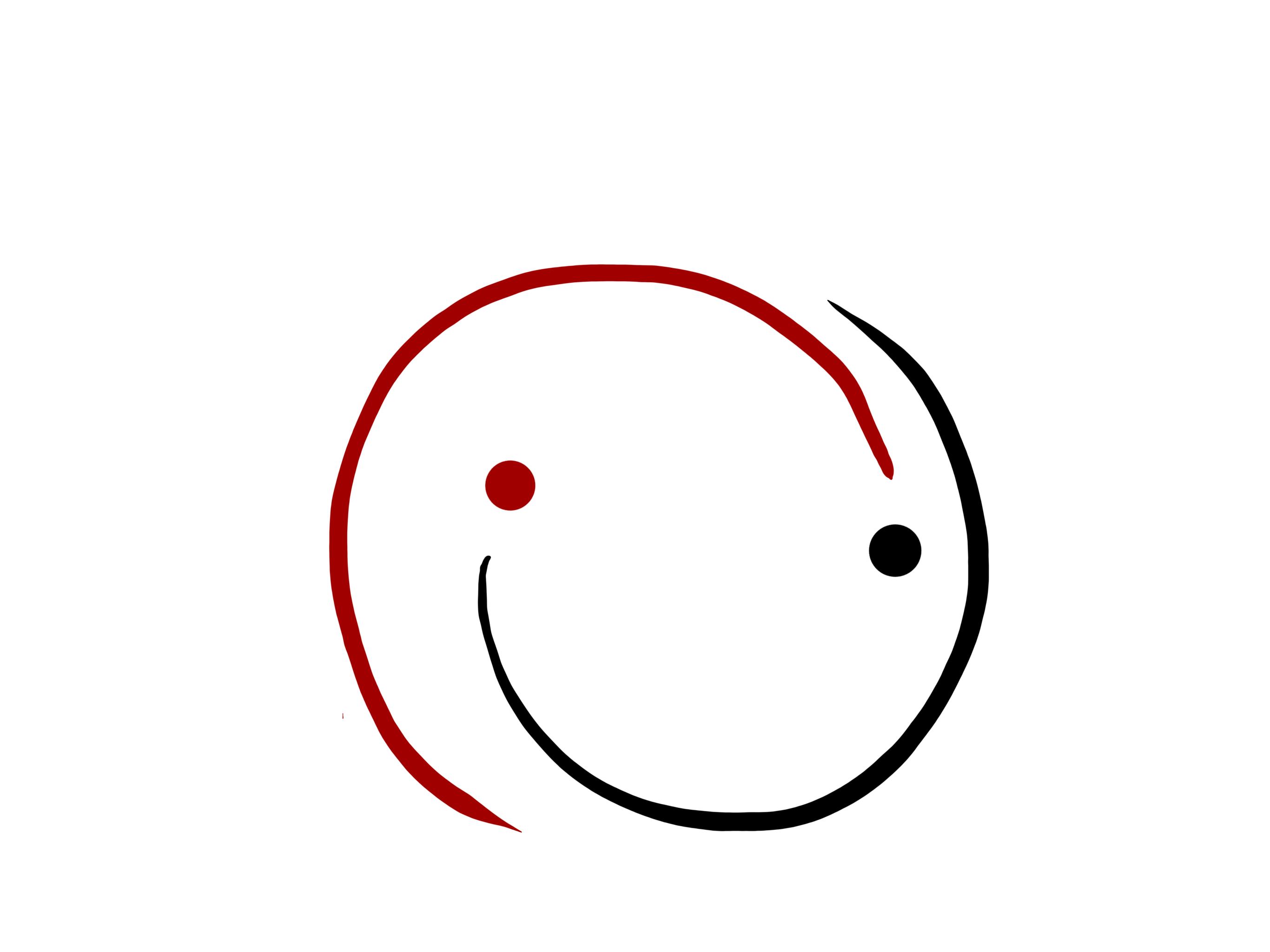 Abstraktes Smile-Gesicht aus zwei ineinanderverdrehten Ausrufezeichen